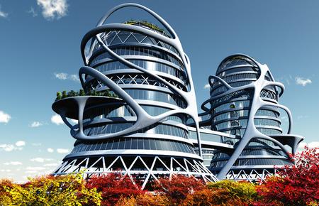 render: Modern building on the grass. ,3d render Stock Photo