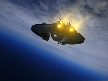 pilot light: The spacecraft is flying in space on the background of the Earth., 3d render Stock Photo