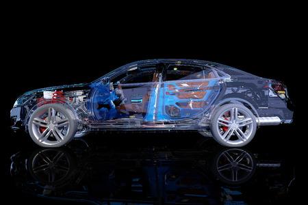 Model auto's op de achtergrond van de tekening., 3D render