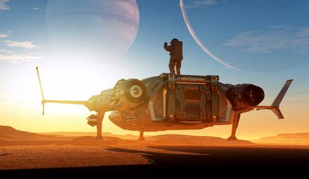 kosmos: Raumschiff auf dem Hintergrund des Planeten. 3d render