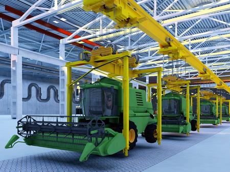 3d render: Combines the conveyor plant.,3d render Stock Photo