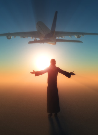 Jesus on the background of a passenger plane.3d render Stock Photo