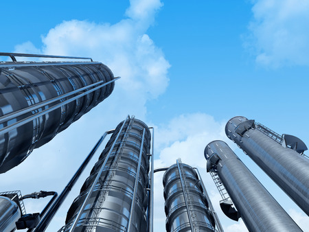 Tubes of factory in the sky.3d render Stock Photo