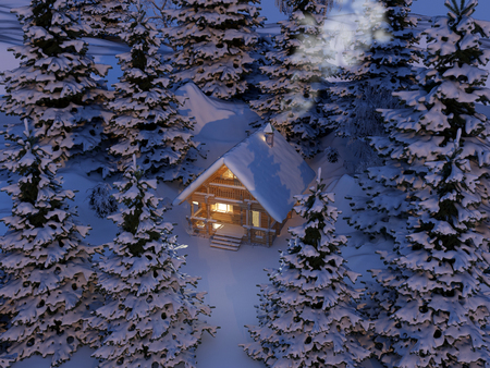 Wooden house at night under the snow.,3d render