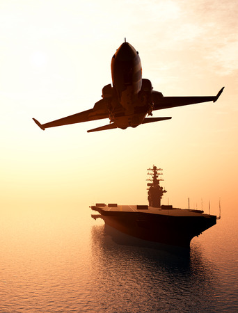 military aircraft: Silhouette of military aircraft and spacecraft. ,3d render Stock Photo