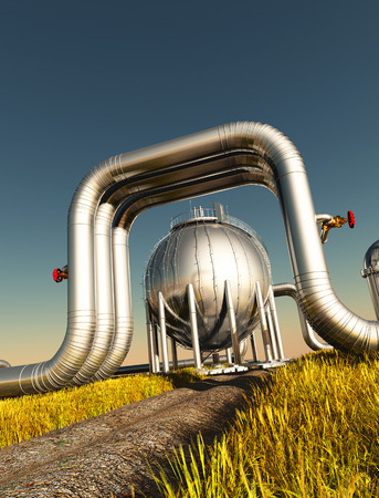 Factory pipes against the sky..3d render