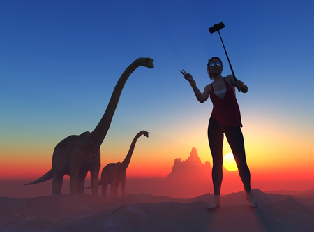 ifestyle: Girl makes a photo with a dinosaur.3d render