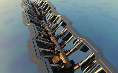 fuel rod: Graphic representation of the engine,3d render Stock Photo