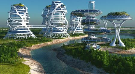 미래 도시 coast.3d 렌더링