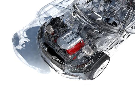 흰색 background.3d에 모델 자동차 렌더링