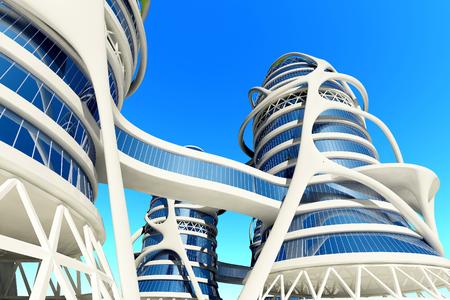 Bâtiment moderne sur un fond de ciel, 3d