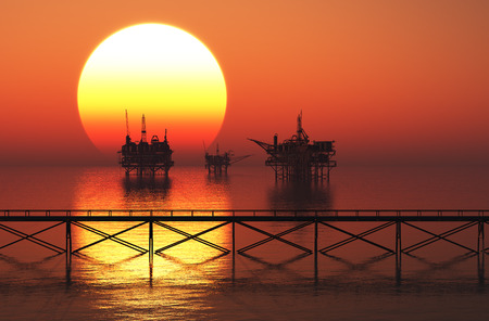 ocean plants: Oil production in the evening sky.,3d render Stock Photo