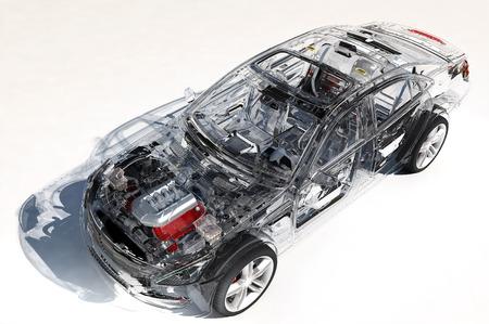 Carros modelo em um background.3d branco rende