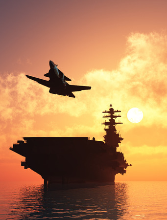 defence: Silhouette of military aircraft and spacecraft. ,3d render Stock Photo