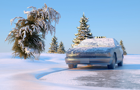 bolide: Auto under ice in the winter landscape.,3d render