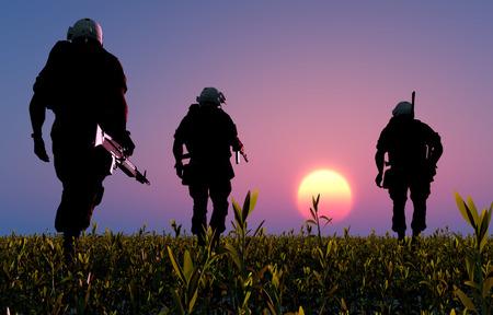 sundown: A group of soldiers at sundown,3d render