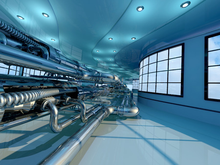 Interior with pipes.,3d render