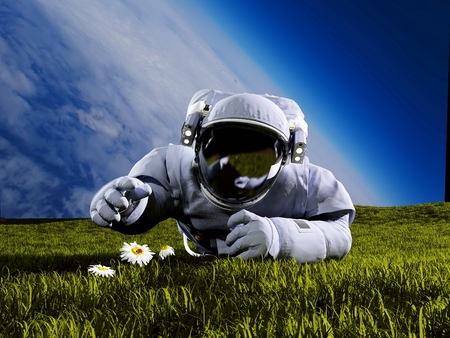 Astronaut on the field with  flowers.3d render