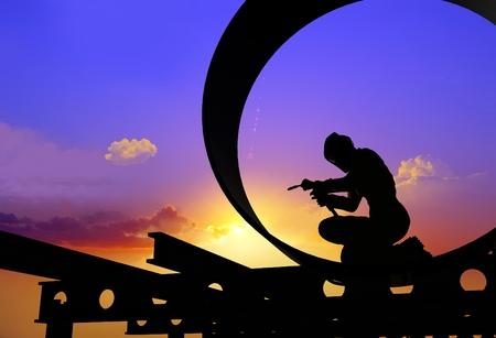 welder: A silhouette of a worker-welder.,3d render