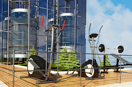 exterior: Trainers at the office balcony.,3d render. Stock Photo