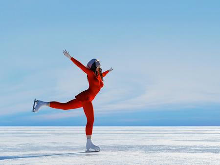3d render: The girl skates. ,3d render