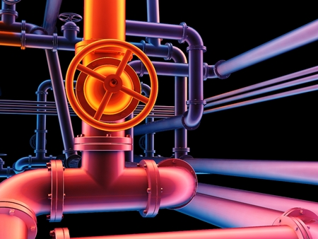 distill: Graphical representation of industrial pipes.,3d render