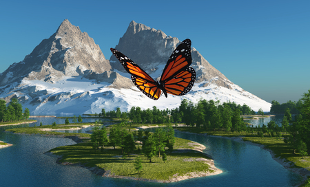 Butterfly on the background of a mountain landscape.