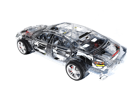 Modelauto's op een witte achtergrond 3d geef terug