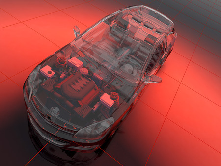 car engine: Graphical representation of the model cars.,3d render