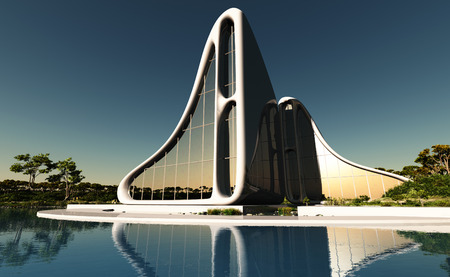 rende: Modern house on the beach.,3d rende