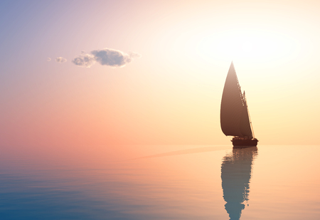 Yacht in the sea at sunset,3d render Stock fotó - 69275246