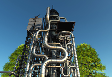 Tubes of factory in the sky. 3d render