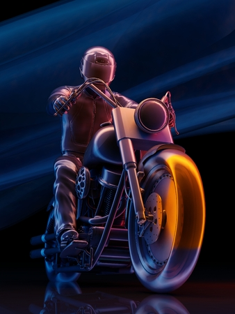 Graphical representation of the rider on a black background.,3d render Фото со стока