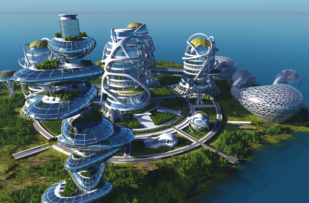 future city: Future City on the coast.3d render