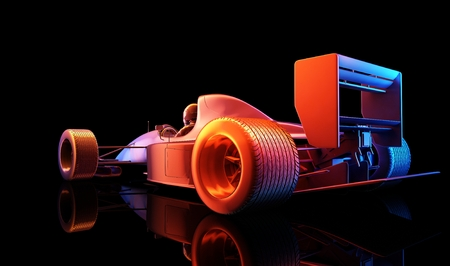bolide: Racing cars on a black background. ,3d render Stock Photo