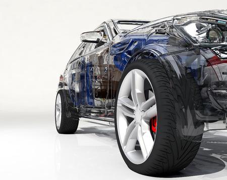 auto modello su un background.3d bianco rendering
