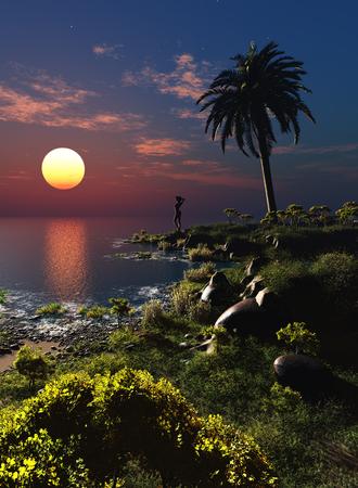 Colorful landscape on the shore.,3d render Stock Photo
