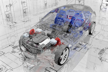 Transparent model cars car on the background of the drawing.,3d render Standard-Bild