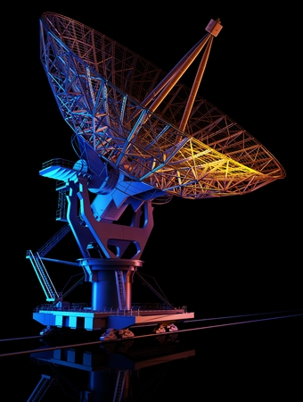 Space radar on a black background.,3d render Stock Photo