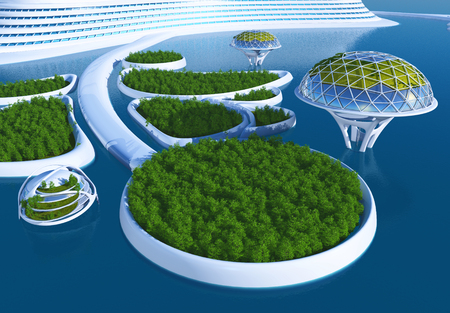 construction projects: Future City in the sea.3d render Stock Photo