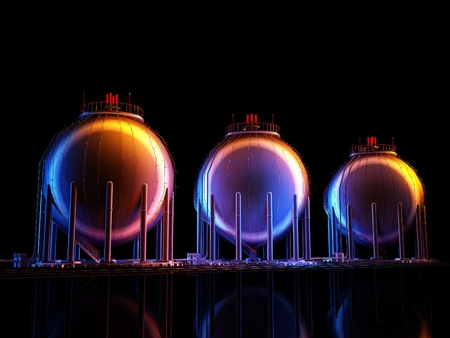 Chemical plant on a black background.,3d render Stock Photo