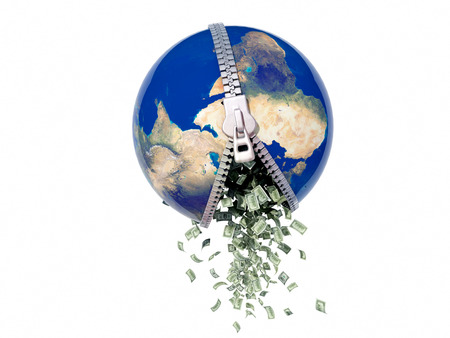 Money falling from the model of the globe. 3D render.