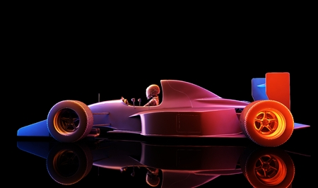 formula one: Racing cars on a black background. ,3d render Stock Photo