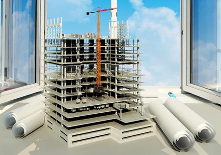 Modell Wolkenkratzer und Zeichnungen in der Nähe eines offenen Fensters., 3D render Standard-Bild