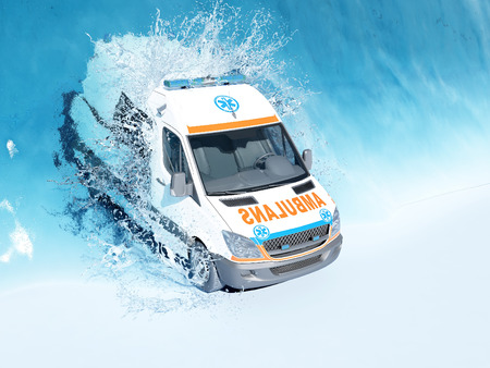 Ambulance under the water. 3d render