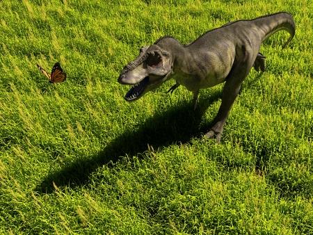 Dinosaur on a background of green landscape..,3d render Stock Photo