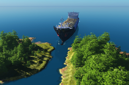 3d boat: Top view of a tanker.  .3d render Stock Photo