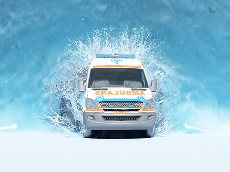 water bus: The bus leaves the water.,3d render Stock Photo