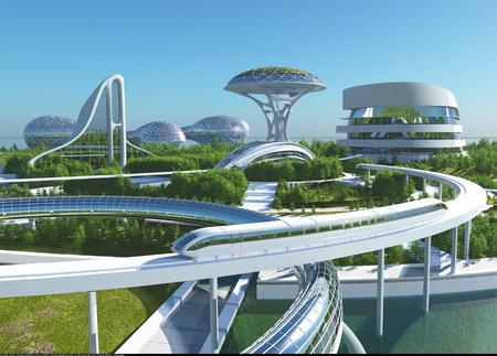 Toekomstige stad aan de kust. 3D render