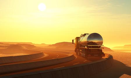 Truck drivenin the desert. ,3d render Stock fotó